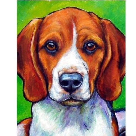 Beagle Dog Art Print Painting By Dottie Dracos 8x10 Beagle
