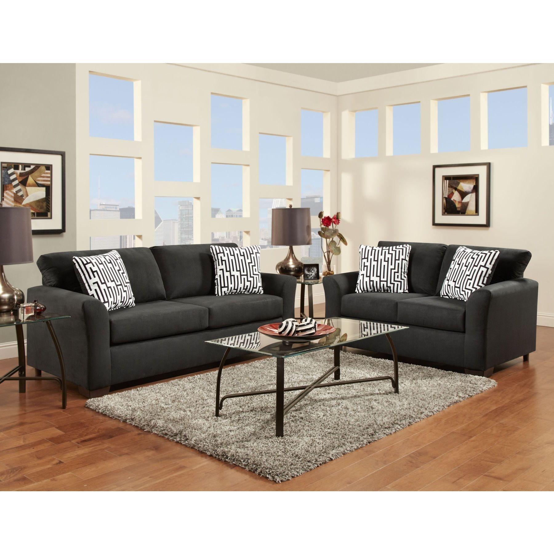Mazemic Black Microfiber 2 Seater Sofa And Loveseat Set With Pillows