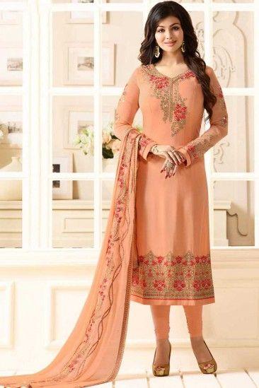 072722d425 #Muslim #eid #Dresses 2018 - Resham Embroidered Georgette Peach Orange #Churidar  Suit - DMV12562