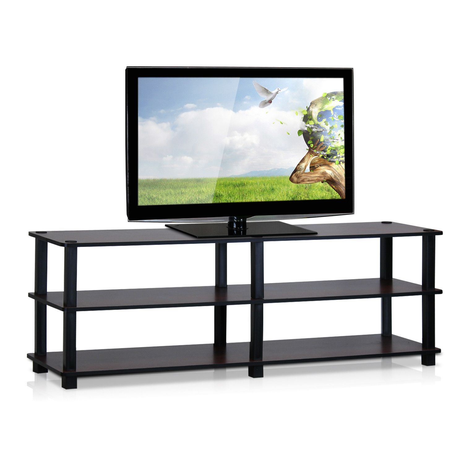 Furinno Turn S Tube No Tools 3 Tier Entertainment TV Stands Dark