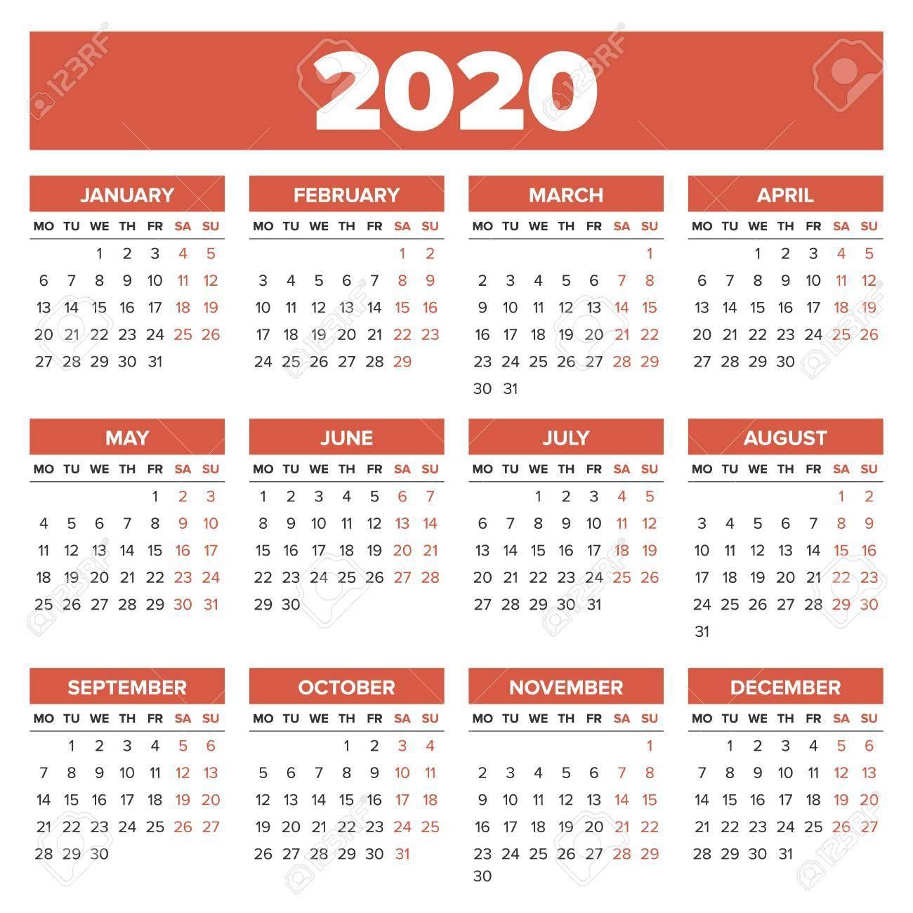 Calendario Del 2020 Di 2020