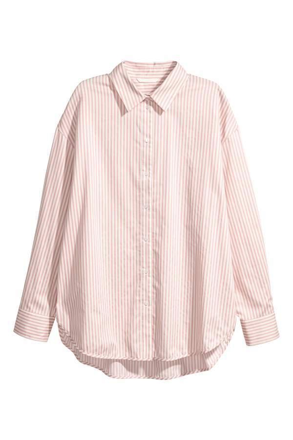 aedbd1997690 H M Cotton Shirt - Powder pink white striped - Women