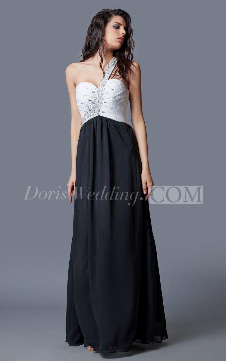 Elegant beaded one shoulder flowy chiffon prom dress two