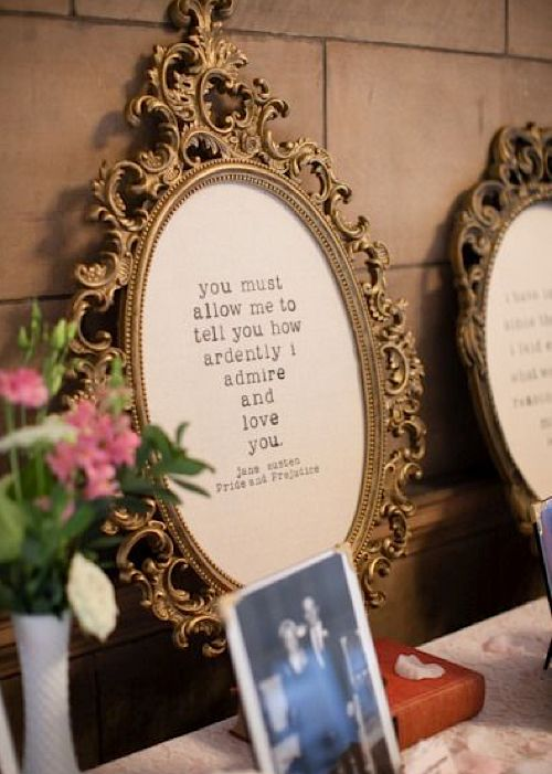 21 literary wedding ideas for book lovers my wedding pinterest pride and prejudice quote literary wedding ideas wedding decorations junglespirit Choice Image