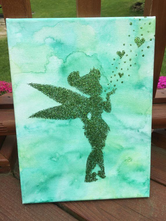 Green Watercolor Tinkerbell Glitter Painting Green Watercolor