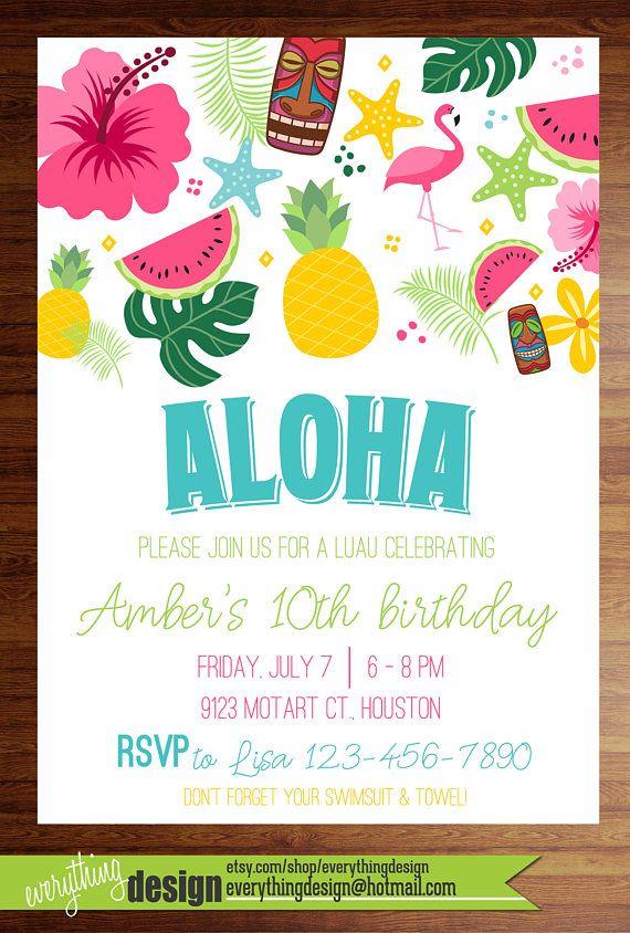 Custom Printed Luau Invitations Birthday Shower Party
