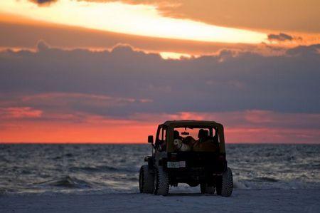 Sunset Jeep Wrangler On Beach