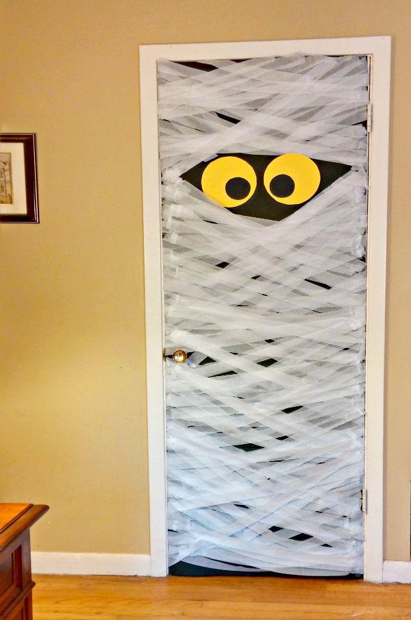 Diy Mummy Door Decoration Always The Holidays Halloween Door Decorations Diy Halloween Door Decorations Halloween Door