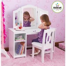 Kidkraft Deluxe Wood Vanity Makeup Table Stool Girls Toddlers