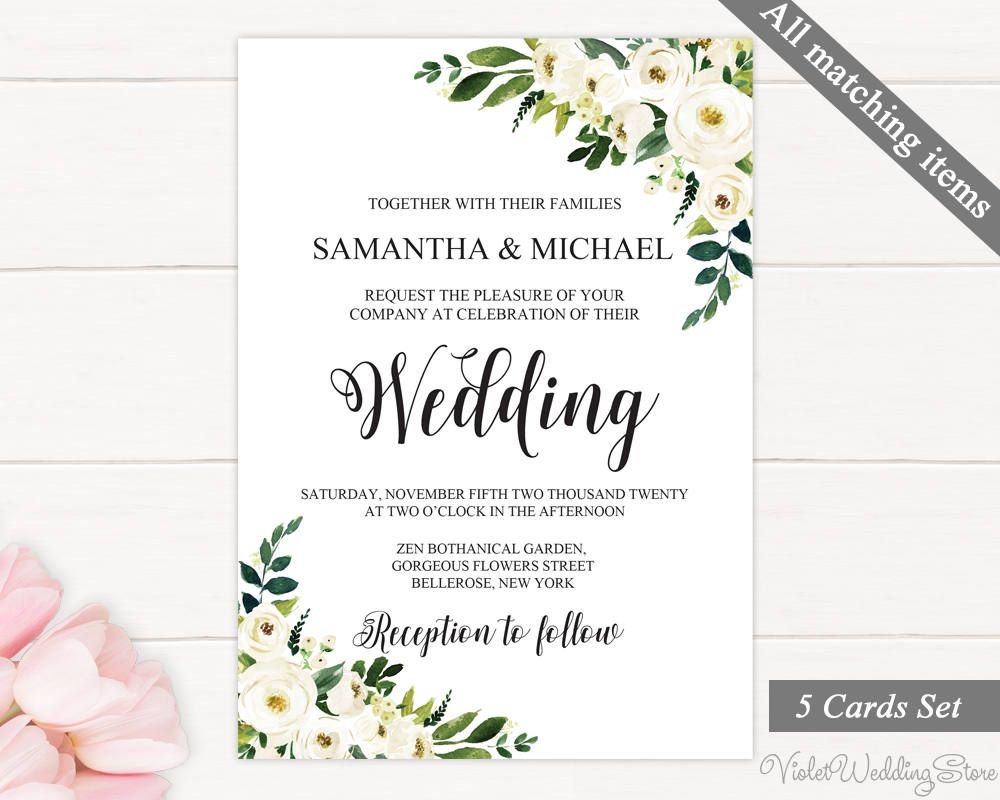 White Flowers Wedding Invitation. Printable Wedding Invitation Set ...