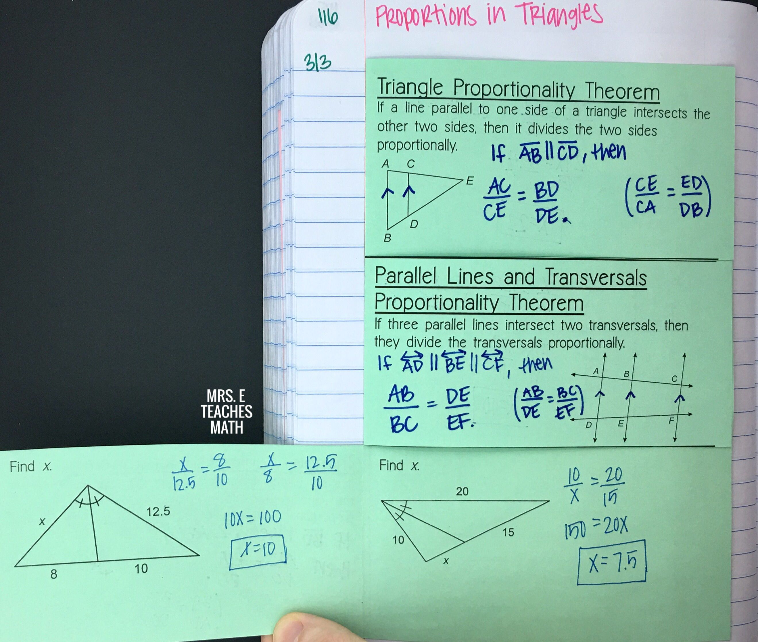 I Had My Students Put This Triangle Proportionality Theorems Foldable In Their Geometry Interactive No High School Math Lesson Plans Theorems Math Lesson Plans