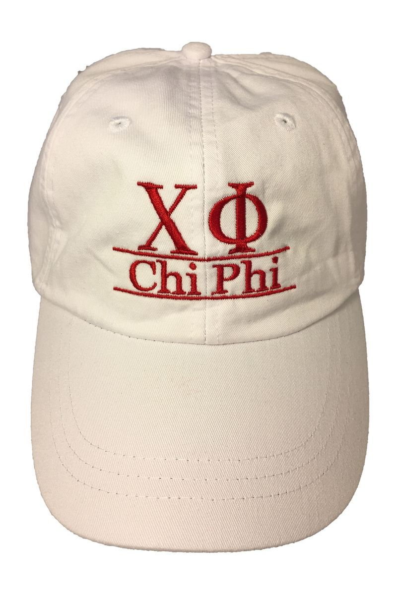 af6c852f857 Chi Phi Fraternity Dad Hat- White - Brothers and Sisters  Greek Store