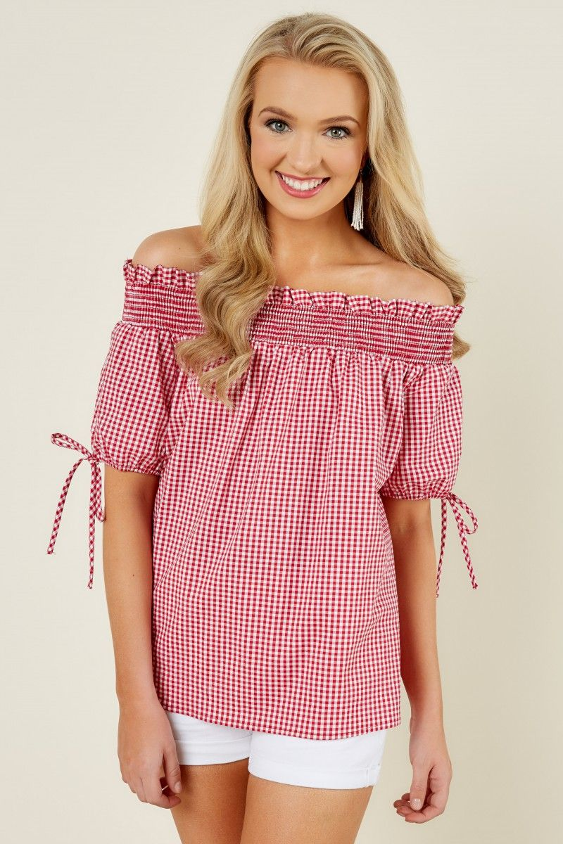 7e6e9f89ccacc Afternoon Date Red Gingham Off The Shoulder Top at reddressboutique ...
