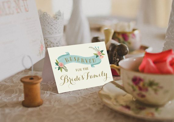 Printable Reserved Table Tents Reserved By Remembernovemberinc Tent Wedding Bridal Party Tables Table Tents