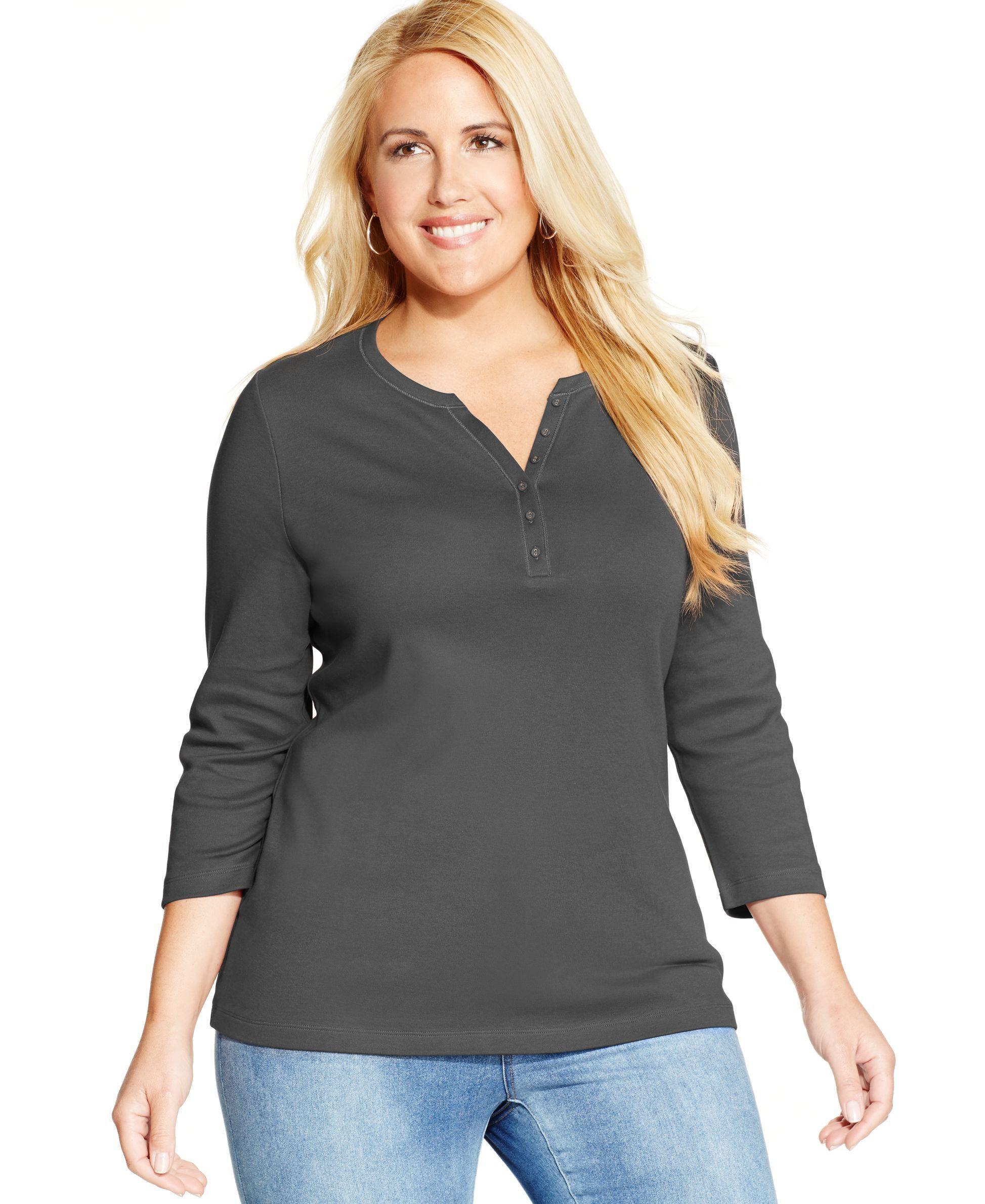 c220d27b06b43 Karen Scott Plus Size Three-Quarter-Sleeve Henley Top