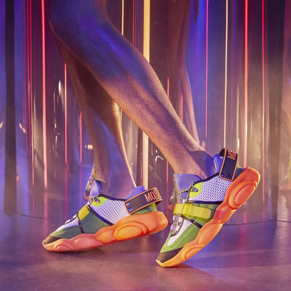 ac2a3965f A neon twist for the iconic Moschino Teddy Shoes sneakers | MOSCHINO ...