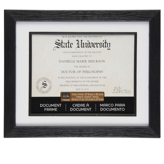 Black 8 5 X 11 Document Frame With Mat By Studio Decor Document Frame Studio Decor Diploma Display