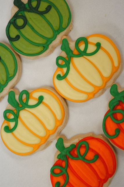 Hand Decorated Gourd Pumpkin Cookie Favors DECORATED COOKIES - halloween pumpkin cookies decorating