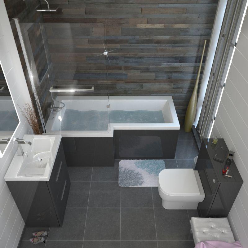 Patello Grey L Shaped Shower Bath Left Hand Small Bathroom
