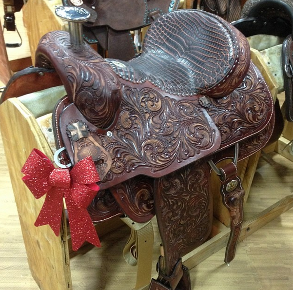 Hi tech roper saddle by Double J Saddlery at the NFR  Photo