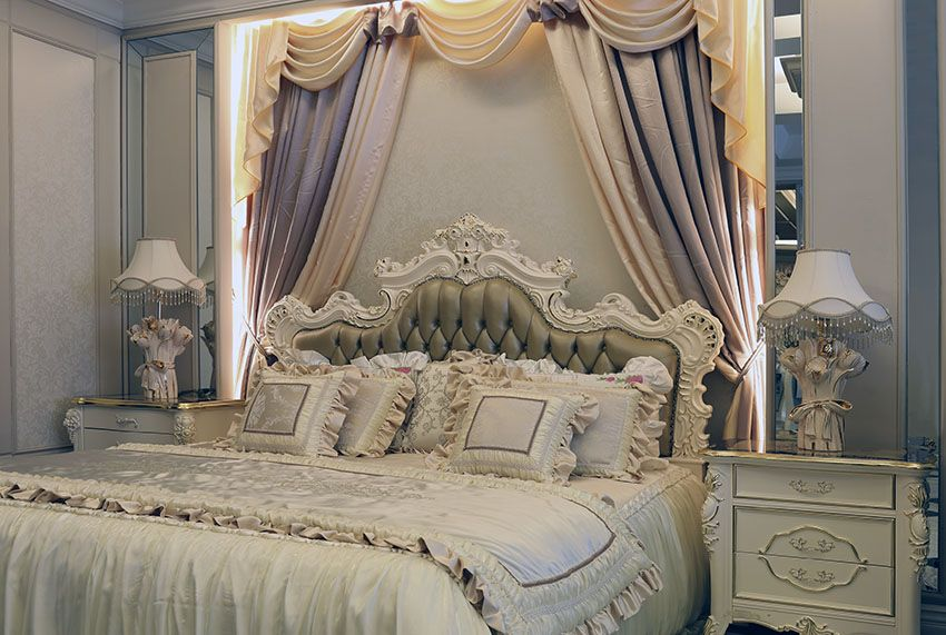 Wonderful Luxury Parisian Style Bedroom With Antique Off White Furniture, Flowing  Curtains And Tufted Bed
