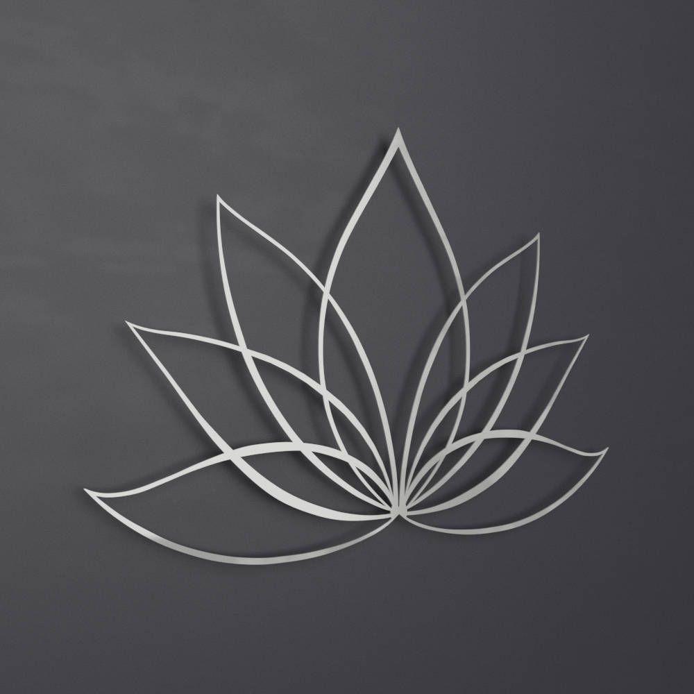 Silver lotus flower metal wall art lotus metal art lotus flower