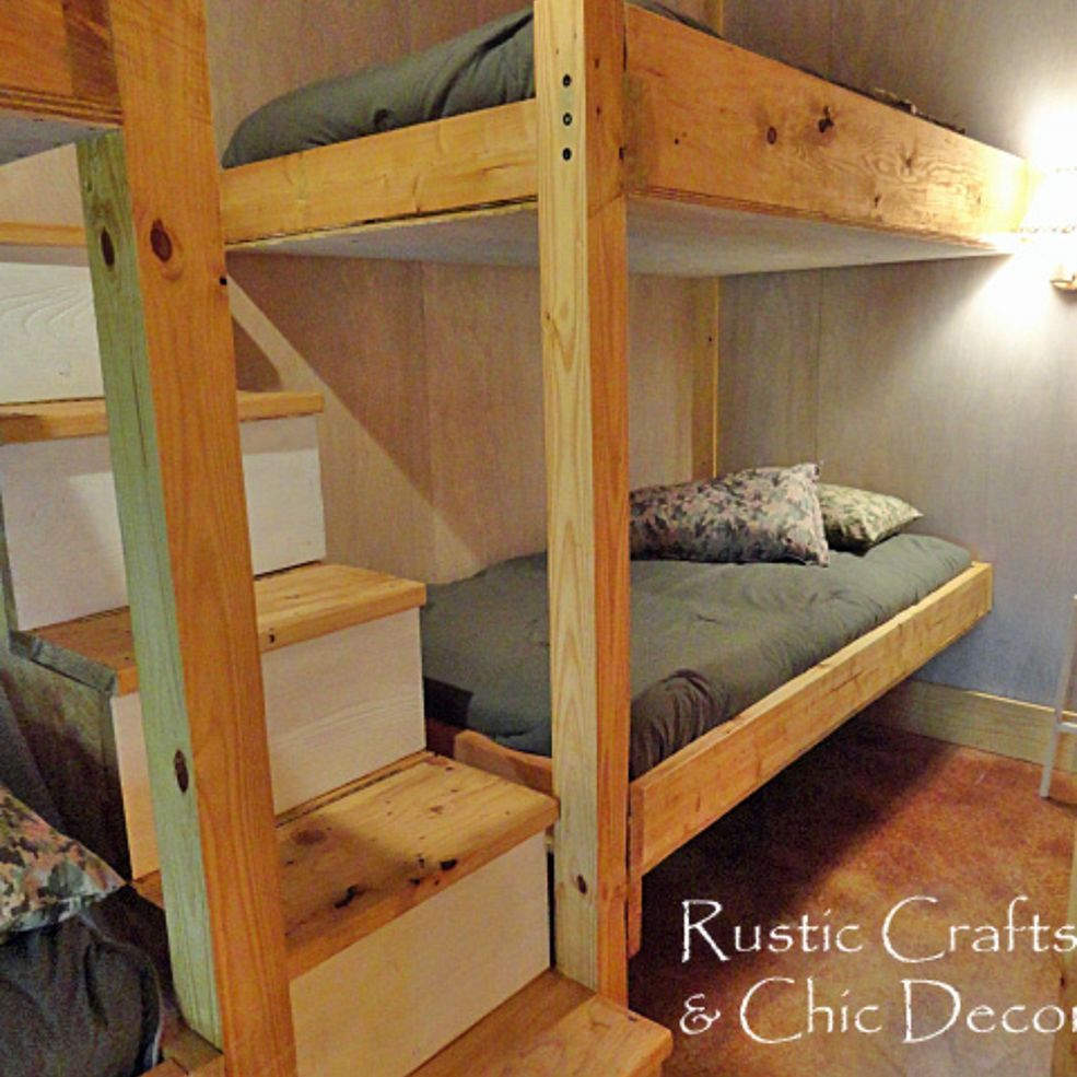 double bunk bed design with stairs and