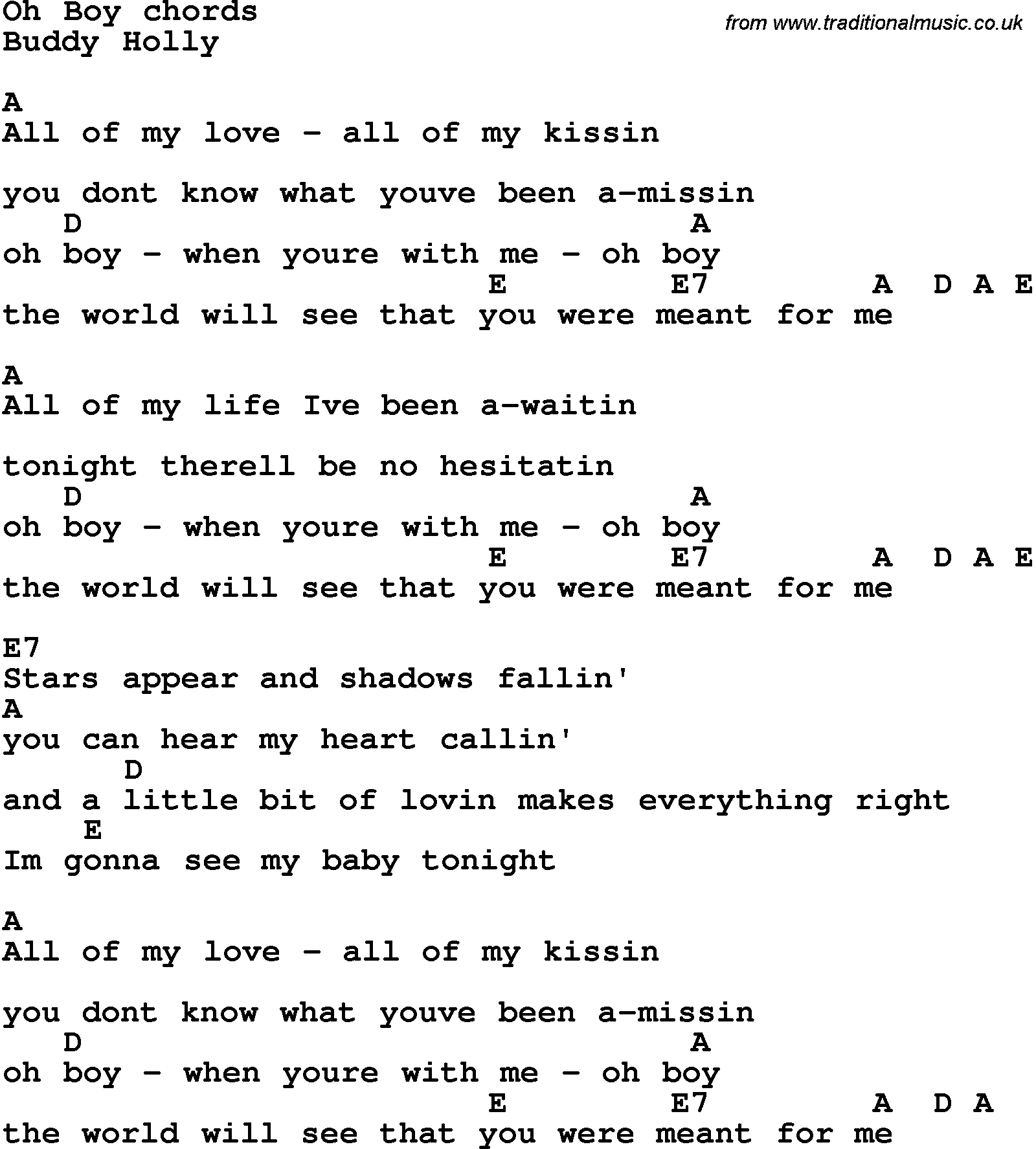 Song Lyrics With Guitar Chords For Oh Boy