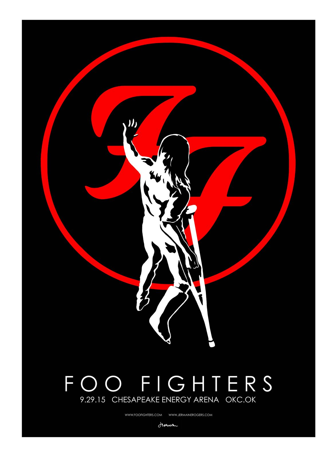 Foo Fighters, Oklahoma poster by Jermaine Rogers