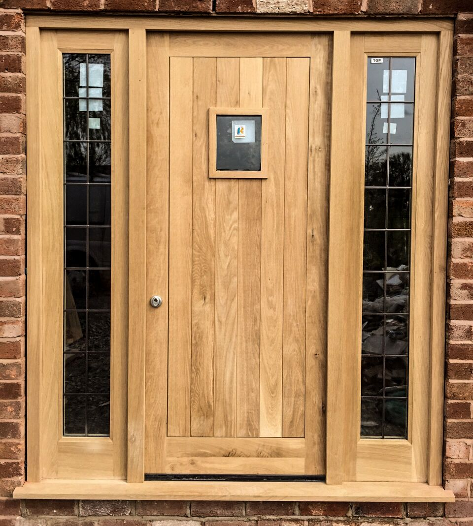 Oak front door frame side lights set made for a for Exterior side entry doors