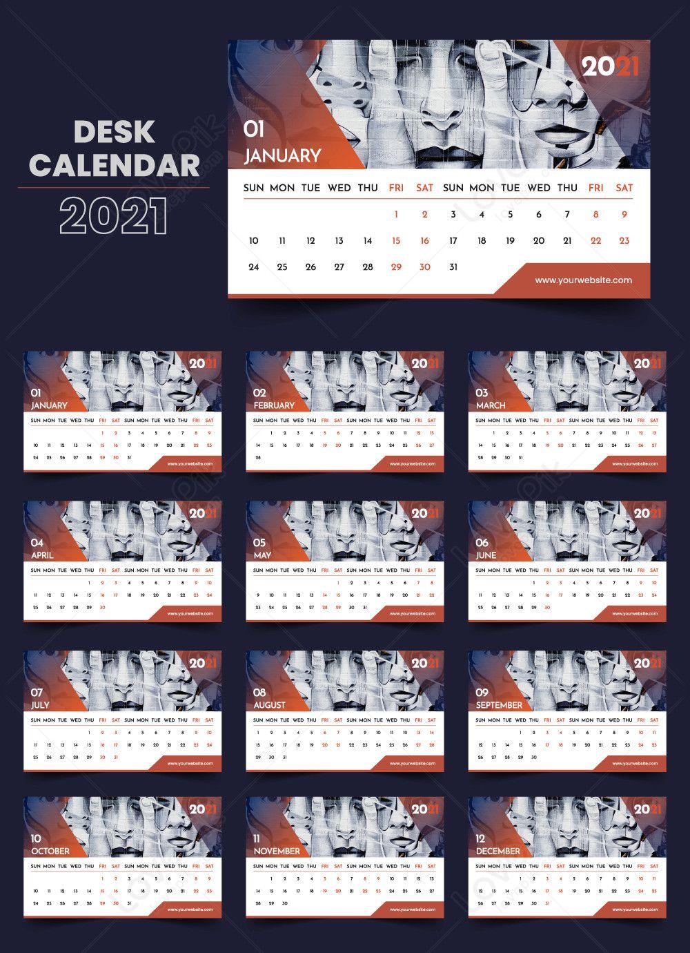 تقويم مكتبي حديث متدرج 2021 Desk Calendars Calendar Desk Calendar Template