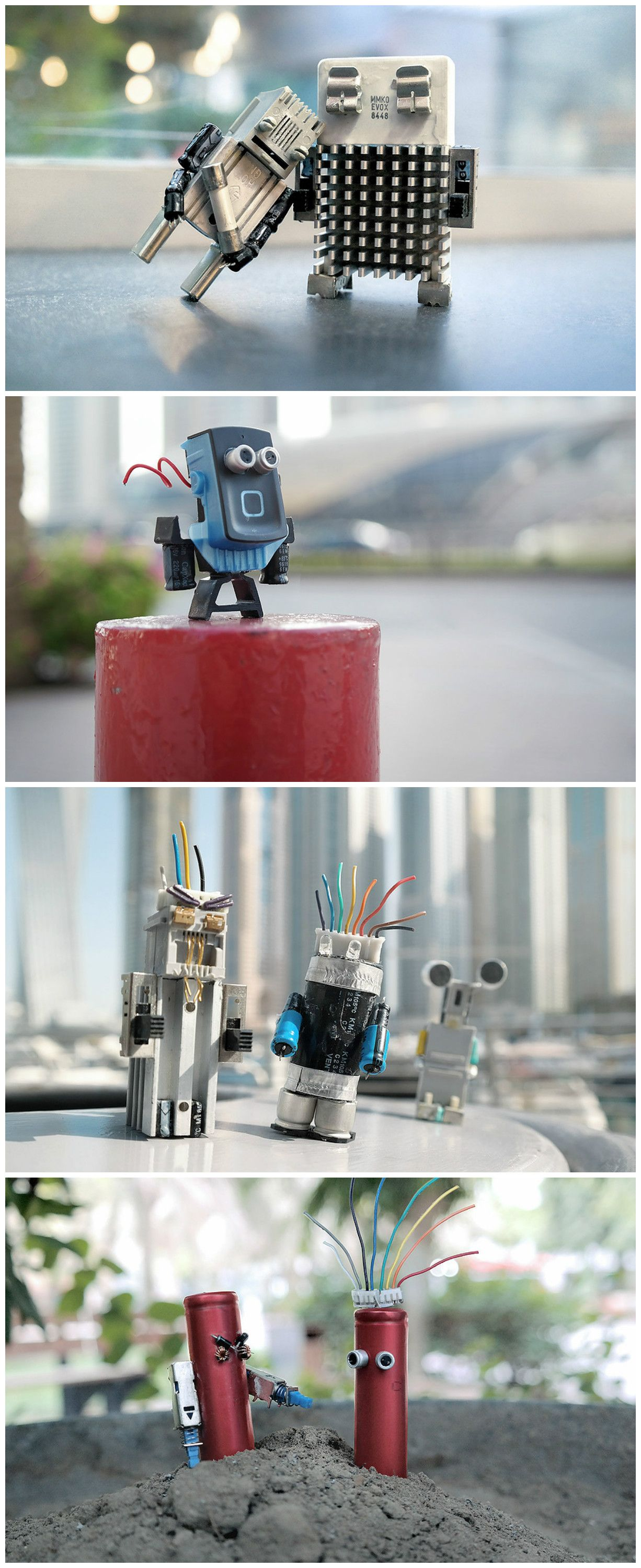 Make Art Not Waste Recycled Characters Out Of Electronic Recycle Circuit Boards Concept Junk Cool Toys Action Figures Made From Old Unwanted Tech Ewaste Gogreen Reducereuserecycle Where Will This Go To Die