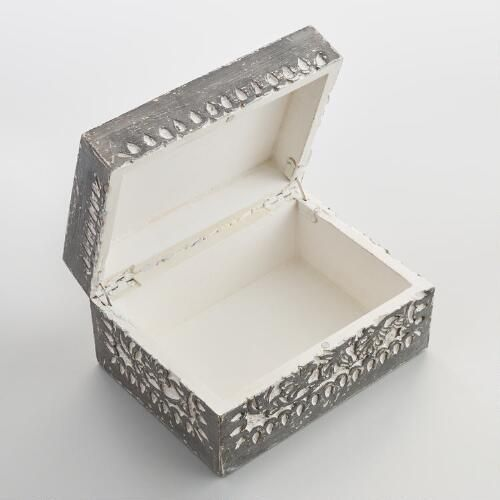 World Market Jewelry Box Extraordinary Graywash Carved Ishani Jewelry Box  World Market  Office Decorating Inspiration