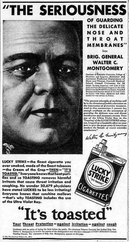 Vintage Lucky Strike Cigarettes Advertising - Santa Cruz California Evening News, October 2, 1930.