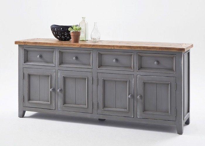 Sideboard Landhausstil Byron Holz Massiv Grau mit Vintage Braun - esszimmer landhausstil braun