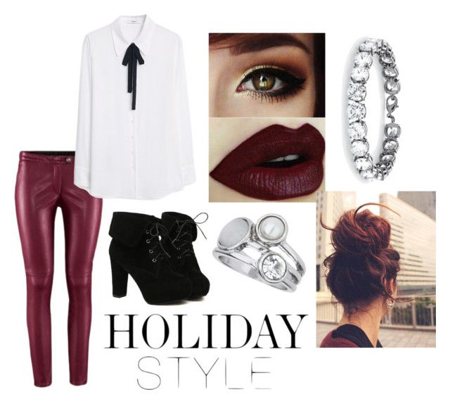 """Holiday Style: Leather  Pants"" by lovedagain101 ❤ liked on Polyvore featuring MANGO, TURNOVER, Palm Beach Jewelry and Wallis"