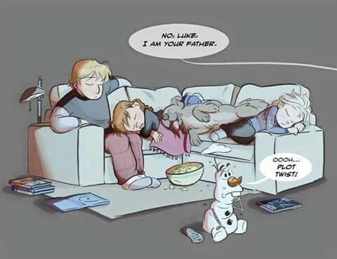 While Elsa, Anna, and Kristoff r asleep, Olaf trys to finish Star Wars Episode 5