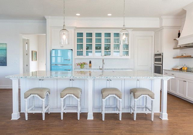 Beach House With Turquoise Interiors   (Bar Stools: Noir Abacus Counter  Stools)
