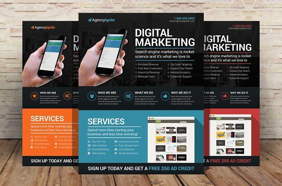 Digital Marketing Flyer PSD | Marketing flyers, Flyer template and ...