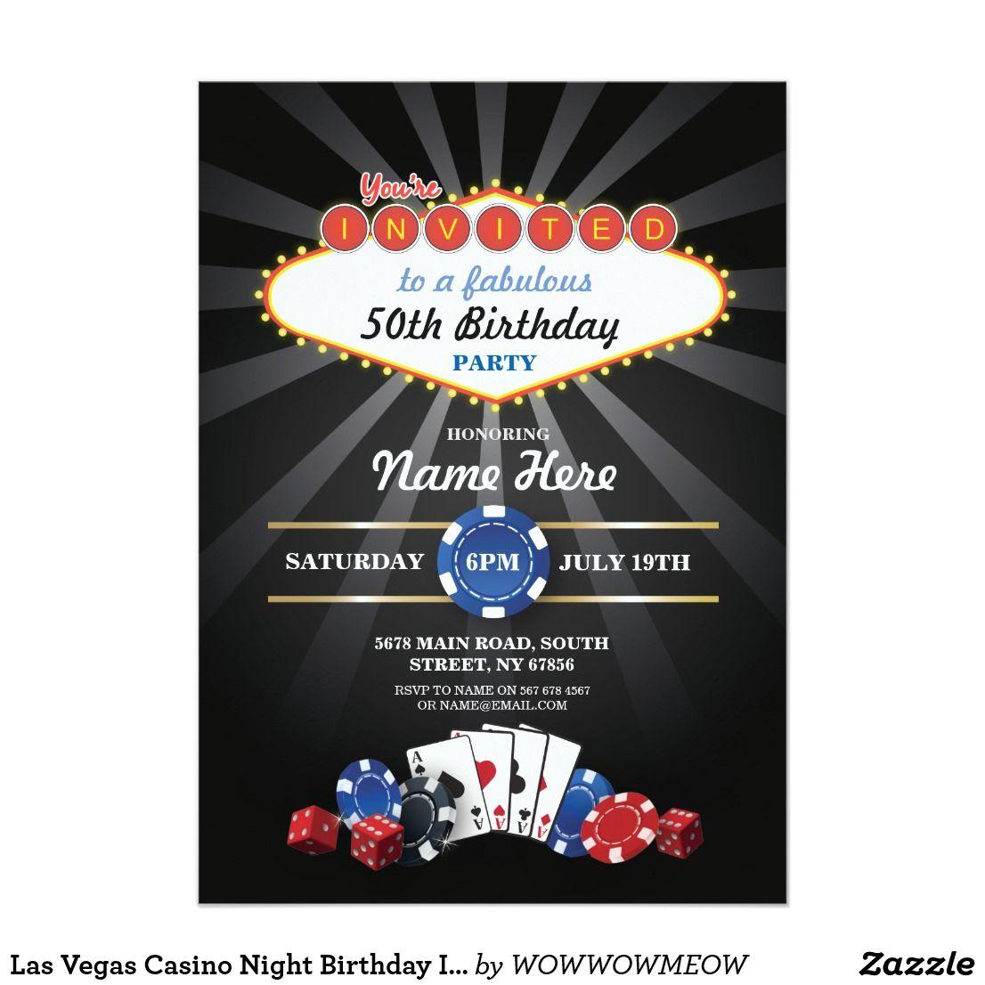 Las Vegas Casino Night Birthday Invite Party Las vegas casinos