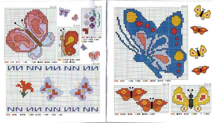 Schema punto croce bordi farfalle cross stitch patterns for Farfalle a punto croce per bambini