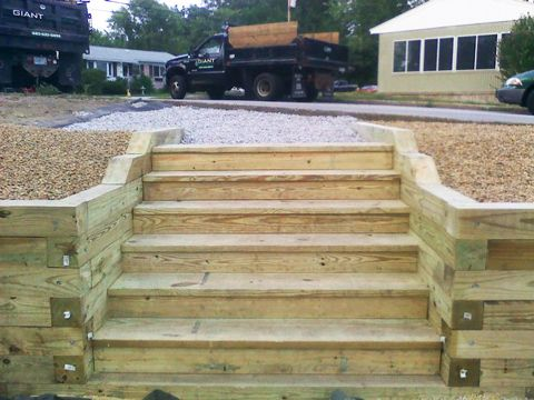 Best Wood Wood Steps And Wall Landscape Steps Pinterest 640 x 480