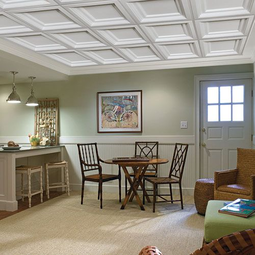 coffered drop ceiling pictures | ceiling for finished room ...