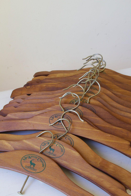 old wooden coat hangers