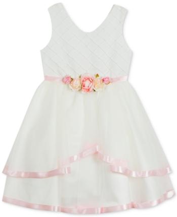 f75ce790d37f Little Girls Satin-Trim Fit   Flare Dress in 2019