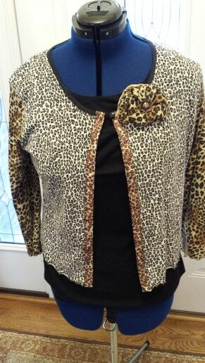 Leopard Print Cardigan Upcycled From Two Tops
