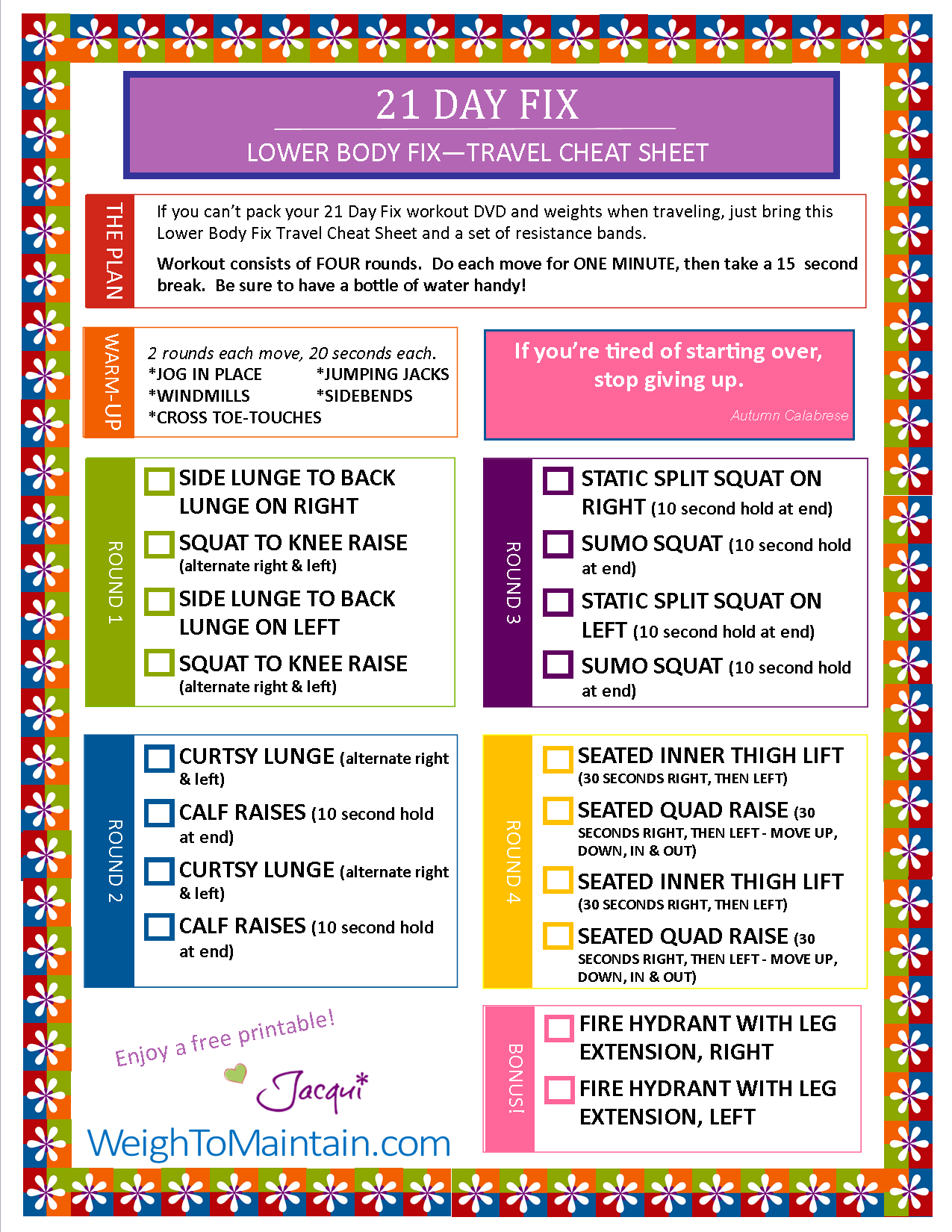 Free printable pdf of the beachbody day fix workout lower body stay fit while traveling just print off sheet and bring also rh pinterest