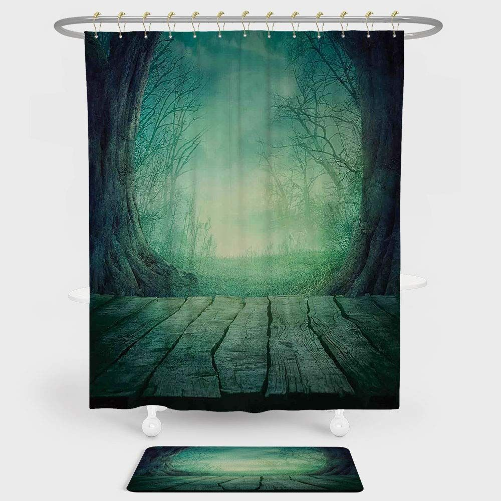Gothic Shower Curtain And Floor Mat Combination Set Spooky Scary