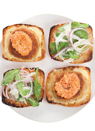The Crab Cake Sandwich at David Lentz's Hungry Cat restaurants in Hollywood and Santa Barbara, California, come with romesco sauce and shaved fennel, red onion, and arugula.
