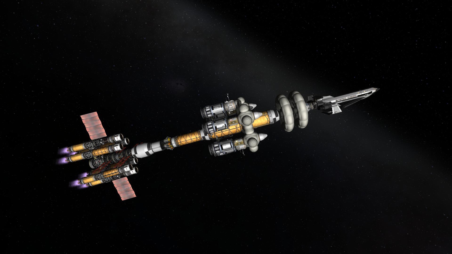 Interplanetary vessel with spaceplane.   Kerbal space ...